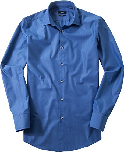 HUGO BOSS Herren Hemd Jenno Baumwolle Oberhemd Meliert, Größe: 40, Farbe:  Blau