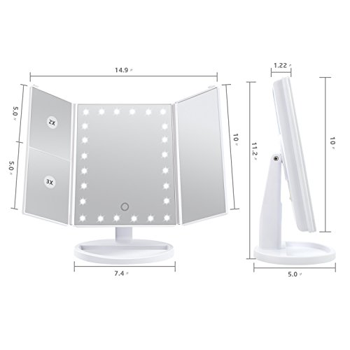 [2018 Upgraded Version] Lighted Makeup Mirror, Wondruz 24 Led Lights Vanity Mirror with Lights and Magnification (2x/3x), Touch Screen, 180° Rotation,Dual Power Supply, Trifold Mirror (White) by Wondruz (Image #1)