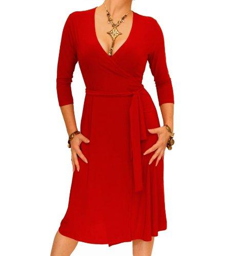 Dress Banana Slinky Elegant Wrap Blue Red 1nIqY8B1z