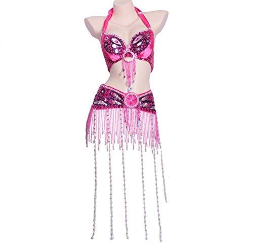 Di Ballo Costumi l Rose Da Set Vestito Per Lunga Ventre Perle Reggiseno Mano Con Wqwlf Danza Frangia Fatto Professionale S Del A Cintura Donne Prestazione E 5Pv7nqEW