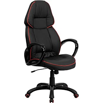 Flash Furniture High Back Black Vinyl Executive Swivel Chair with Red Piping and Arms