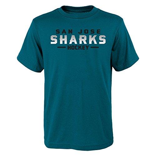 Outerstuff NHL San Jose Sharks Youth Boys Glacial Short Sleeve Tee, Medium(10-12), Shark -