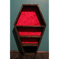 Coffin jewerly Storage shelf for wall Dracula style Gothic Decor Wood with black stain 24L x15W