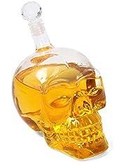 Summarytip Skull Head Vodka Shot Whiskey Wine Drinking Glass Bottle Decanter Skull Shaped Wine Bottle 500 ml (Transparent) (500 ml Transparent)