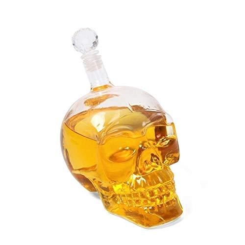 Bargain Crusader Skull Head Vodka Shot Whiskey Wine Drinking Glass Bottle Decanter Skull Shaped Wine Bottle (500 ml, Transparent)
