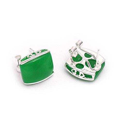 GEM-inside 12x14mm Rectangle Green Jade Beads Marcasite Tibetan Silve Lever Back Earrings Jewelry