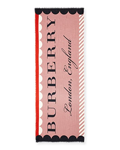 BURBERRY Patterned London England Wool Blend Scarf in Dusty - Pink Burberry