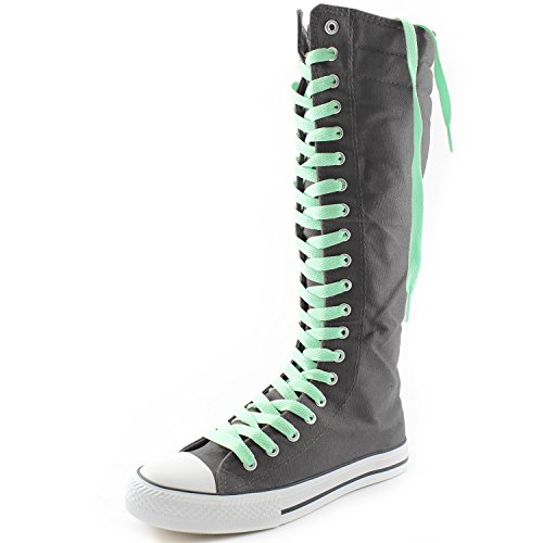DailyShoes Womens Canvas Mid Calf Tall Boots Casual Sneaker Punk Flat, Grey Boots, Perfect Green Lace