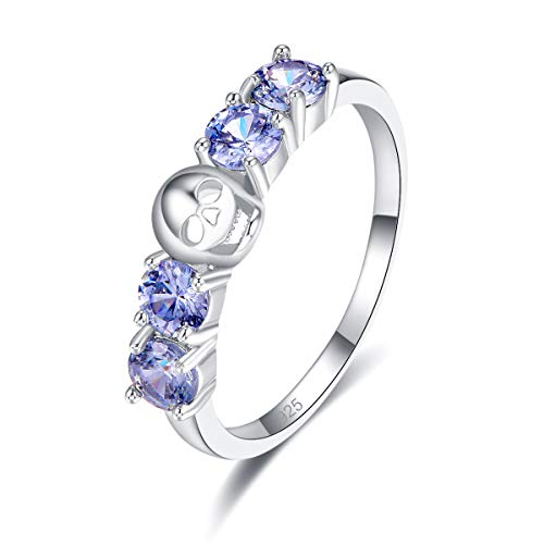 Veunora 925 Sterling Silver Plated Lab-Created Tanzanite Promise Proposal Engagement Wedding Rings for Women Girl Size 6