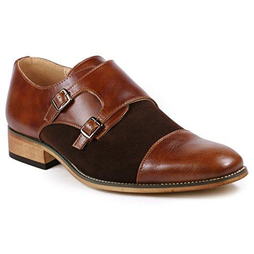 Image of Metrocharm MC136 Men's Double Monk Strap Oxford Classic Dress Shoes