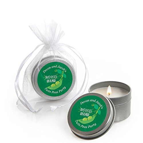 Big Dot of Happiness Personalized Double the Fun - Twins Two Peas in a Pod - Custom Candle Tin Baby Shower Favors - Custom Text - Set of 12 ()