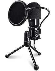 Game Factor Microfono Profesional MCG601 USB, Streaming, Con Tripie, Negro
