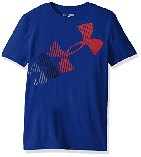 Under Armour Boys Logo Advance Short Sleeve Athletic Shirt, Youth Large, Royal/Red