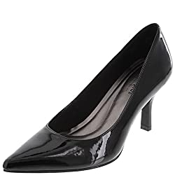 Comfort Plus by Predictions Women's Black Patent Janine Pointy Toe Pump 5 M US