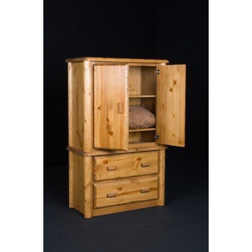 Northwoods 2 Drawer Log Armoire (Honey Pine)