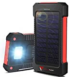 Portable Solar Charger - Solar Powerbank - Portable 10,000mah Charger - Best Waterproof Solar Charger for Phones, USB Devices, Tablets & MP3 Players - for Indoor & Outdoor Use - Compass inc