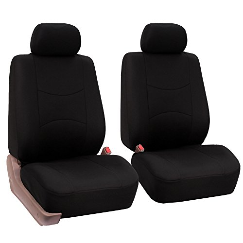 FH Group Universal Fit Flat Cloth Pair Bucket Seat Cover, (Black) (FH-FB050102, Fit Most Car, Truck, Suv, or Van) ()