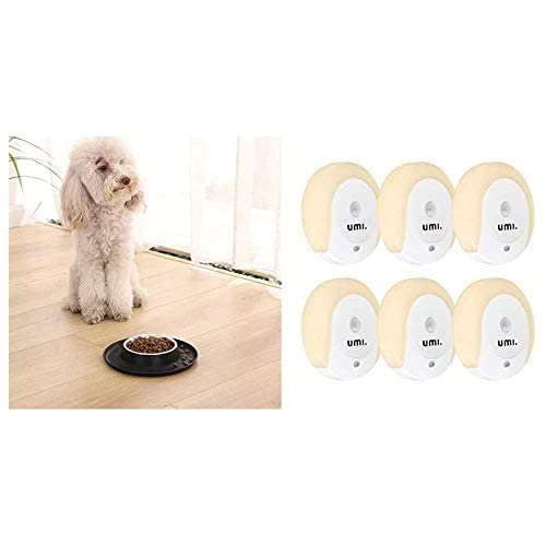 chollos oferta descuentos barato AmazonBasics Base Redonda de Silicona y Cuenco para Mascotas pequeño Negro UMI by Amazon Luz LED Nocturna con Enchufe Sensor Oscuridad y Sensor Movimiento Paquete de 6