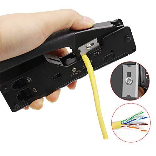 RONSHIN Rj45 Herramienta Crimpadora de Red Herramientas de crimpado Rj45 Conector Cables Multifunci/ón Crimpadora Metal Electronic Accesorios