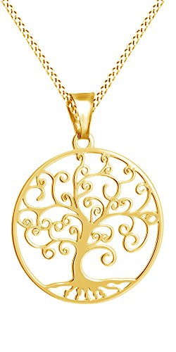 Jewel Zone US Tree of Life Filigree Pendant Necklace 14k Yellow Gold Over Sterling Silver