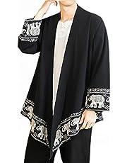 PRIJOUHE Men's Japanese Fashion Kimono Cardigan Plus Size Jacket Yukata Casual Cotton Linen Seven Sleeve Lightweight