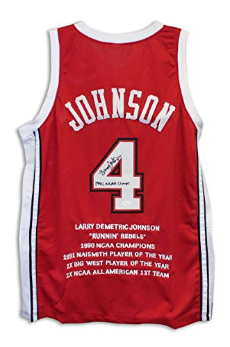Larry Johnson UNLV Runnin Rebels Autographed Red Jersey with Embroidered Stats Inscribed
