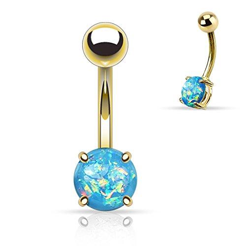 """Piercing nombril Opal glitter en acier chirurgical 316LTaille: 14GA (1.6mm)3/8""""(10mm)5 & 8 Couleur: Aqua"""