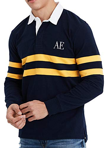 (American Eagle Mens Long Sleeve Rugby Shirt, Navy)