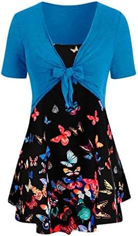 LYN Star ◈ Women Summer Casual T Shirt Dresses Beach Cover up Plain Pleated Tank Dress Tops Fashion Printed Tank Blouse