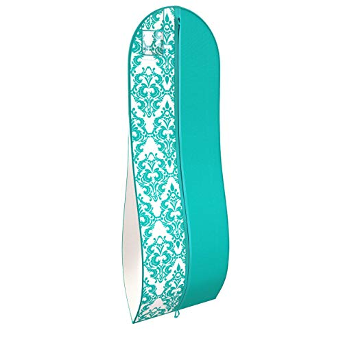 """Gusseted Gown Garment Bag for Women's Prom and Bridal Wedding Dresses - Travel Folding Loop, ID Window-72"""" x 24"""" with 10"""" Tapered Gusset - Tiffany Blue / White - by Your Bags"""