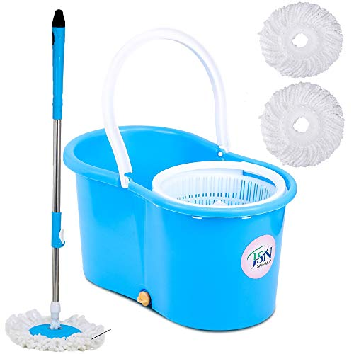 JSN Bucket PVC Mop with 3 Micro Fiber Refills  Medium Blue/Colour May Vary