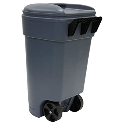 united solutions tb0041 fifty gallon1893 liter commercial grade wheeled gray trash can 50 - Commercial Garbage Cans