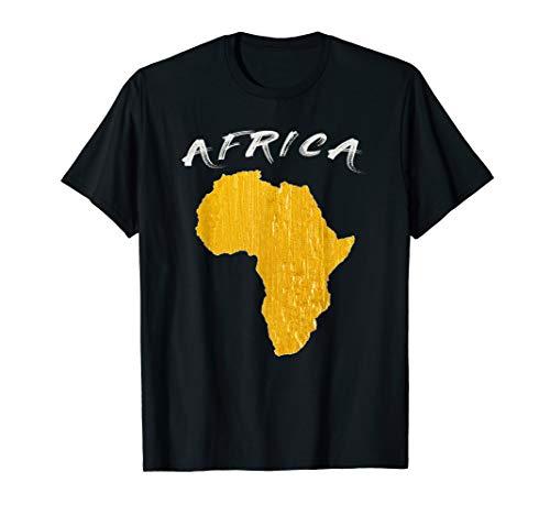 Africa Shirt African Golden Map Gift T-Shirt Tee Men Women (T-shirt Africa Map)