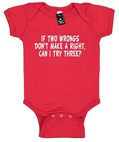 Signature Depot Infant Funny Baby Onesie Unisex Shirt Size 12 (IF Two Wrongs Don't Make A Right)