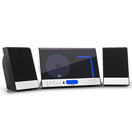 oneConcept Vertical 90 Stereoanlage Design Kompaktanlage mit CD-Player (MP3-fähig, Radio-Tuner, Wecker, Fernbedienung, Wandmontage geeignet) schwarz