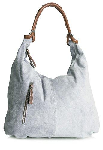 en Real Italian Suede Leather Large Hobo Shoulder Bag (Light Grey) (Italian Leather Large Hobo)