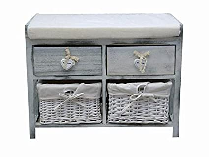Mueble Mesita Banco 2 cajones madera 2 cestas mimbre blanco beige ...