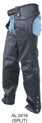 Unisex Lined Motorcycle Chaps W/Braided Trim, Split Cowhide