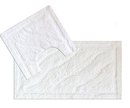 EHC Luxurious 2-Piece Cotton Bath Mat and Pedestal Set, White Elitehousewares E9-BMP4575WH