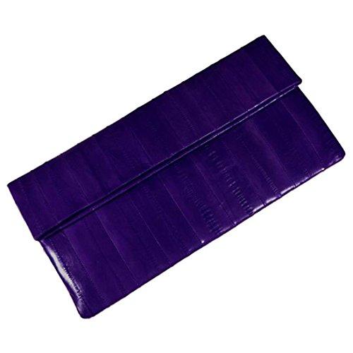 Eel Skin Clutch - Women's Genuine Eel Skin Big Purse Handbag Wallet Clutch Purple