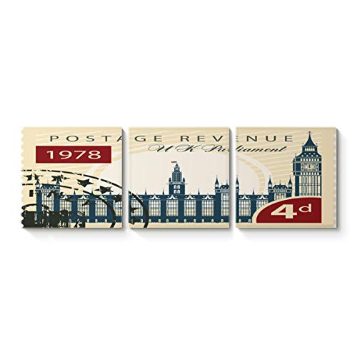 - LIDU 16''x16''x3 Panels Framed Wall Arts, 1978 4d Postage Revenue Stamps United Kingdom Parliament, Giclee Prints Gallery Wrapped Modern Artwork Paintings for Home Decor,Ready to Hang