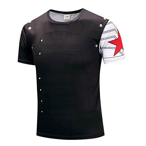 (Mens Slim Dri Fit Superhero Winter Soldier Workout Sport Running T Shirt M)