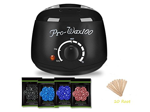 Wax Warmer Hair Removal Waxing Kits for Men and Women with 4 Flavor Hard Wax Beans and 10 Wax Applicator Sticks (At-home Waxing)