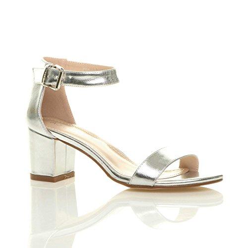 Ajvani Womens Ladies Low mid Block Heel peep Toe Buckle Ankle Strap Party Strappy Sandals Shoes Size Silver Metallic PWAwG7kdwi
