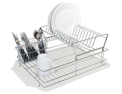 Amazon Com Home Basics 2 Tier Dish Drainer Cutlery Holder Dish