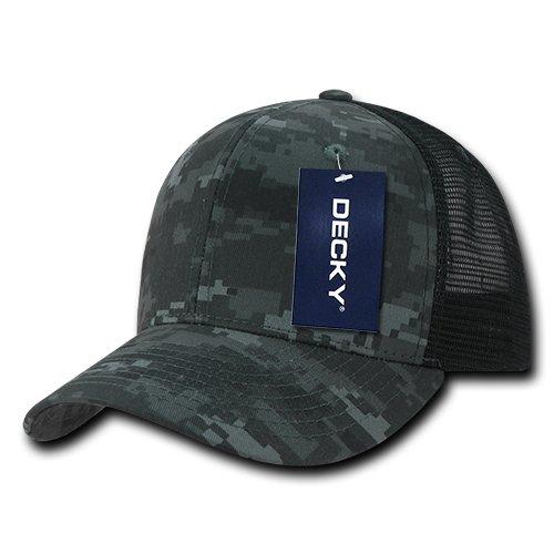 Camo Trucker Cap - DECKY Camo Flat Bill Trucker Caps, Night/Black