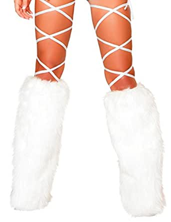 100 Inch Solid Thigh Wrapssold Separately Fur Leg Warmers (Black;One Size)