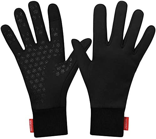 Forhaha Waterproof Splash-Resistant Sports Running Gloves – Touch Screen Lightweight Liner Gloves for Running, Walking, Cycling, Working – Outdoor for Men Women in Winter Or Fall