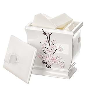 Creative Scents Vanda Q Tip Holder , Decorative Cotton Ball Jar- Durable Resin Swab Container- Beautiful Bathroom Vanity Accessories- Elegant Bath Storage (White)