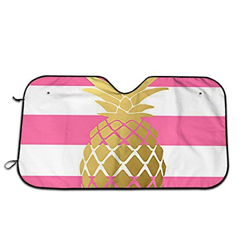 Gulong~a Windshield Sun Shade, Pink and Gold Pineapple Fold-up Sunshade for Windshields - Accordion Style Large Auto Shade